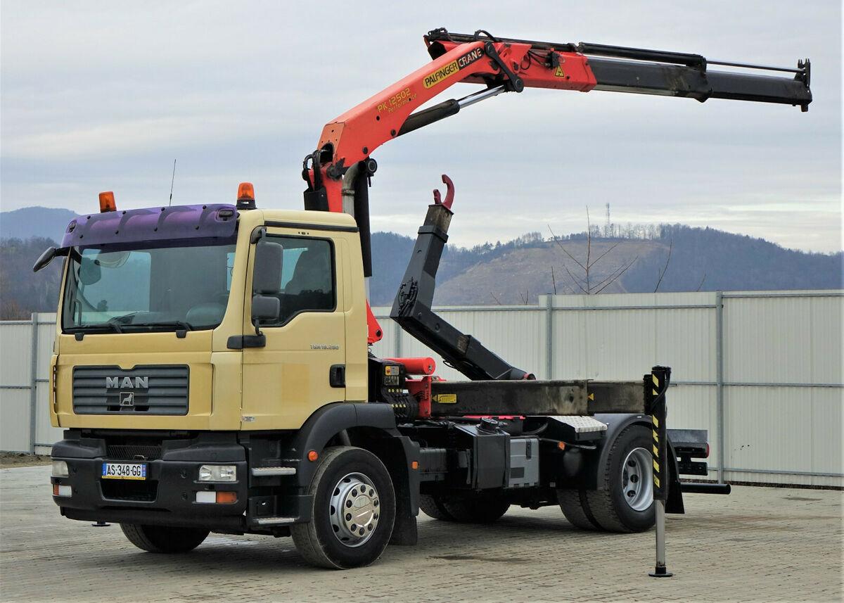 camión multibasculante MAN TGM  18.280  Abrollkipper 4,00m + Kran/FUNK !!