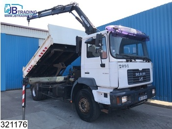 MAN FE 310 Hiab crane, Steel suspension, Manual, Pincer bucket - volquete camión